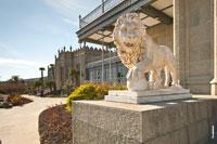 Фото скульптуры льва с лапой на шаре у южного входа в Воронцовский дворец в Крыму