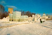 Фото ледового городка зимой 2018 года на Центральной площади Ижевска